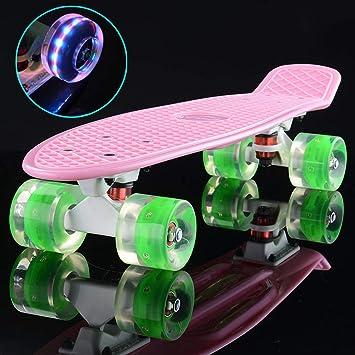 1-1 Skateboard Patineta de Pesca Flash de 4 Ruedas 60 mm La Seguridad Robusto Antideslizante para Niños Chicas Muchachos Adulto con Regalos,K: Amazon.es: ...