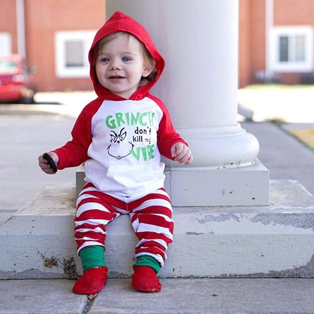 LNGRY Baby Outfits,Toddler Infant Kid Girls Boys Grinch Dont Kill My Vibe Hooded Sweater Tops+Striped Pants Set