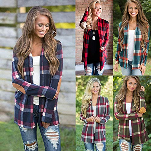 Plaid Open Jacket Outerwear Waterfall Sleeve Chic Long Coat Red Front Tomwell Drape Loose Print Cardigan Patchwork Elegant Classic Women's Casual wIn4B8