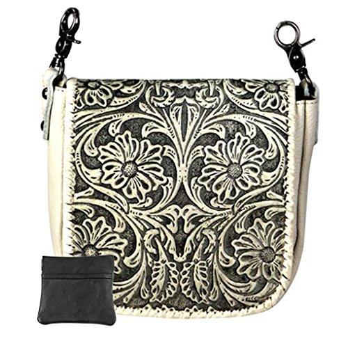 - Handcrafted Leather Convertible Clutch Crossbody Handbag Biker Bag (Beige with Tooled Vintage)