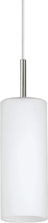 Eglo 85977 Troy 3 - Lámpara colgante (Acero niquelado acabado mate y cristal satinado blanco, 1 bombilla E27 máx. 60 W, diámetro 10,5 cm, altura 110 cm)