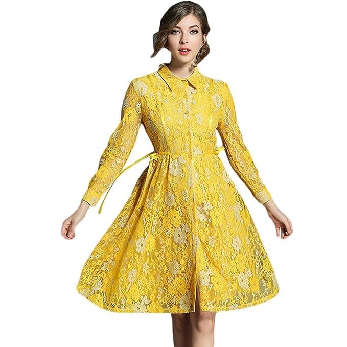 YiLianDa Mujeres Vestidos de Encaje Elegante Vestido Fiesta Bodas Cóctel Slim Falda Amarillo S