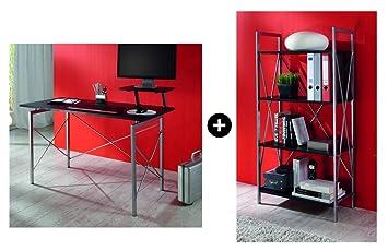 Galdem bureau avec étagère en panneau mdf noir gris amazon