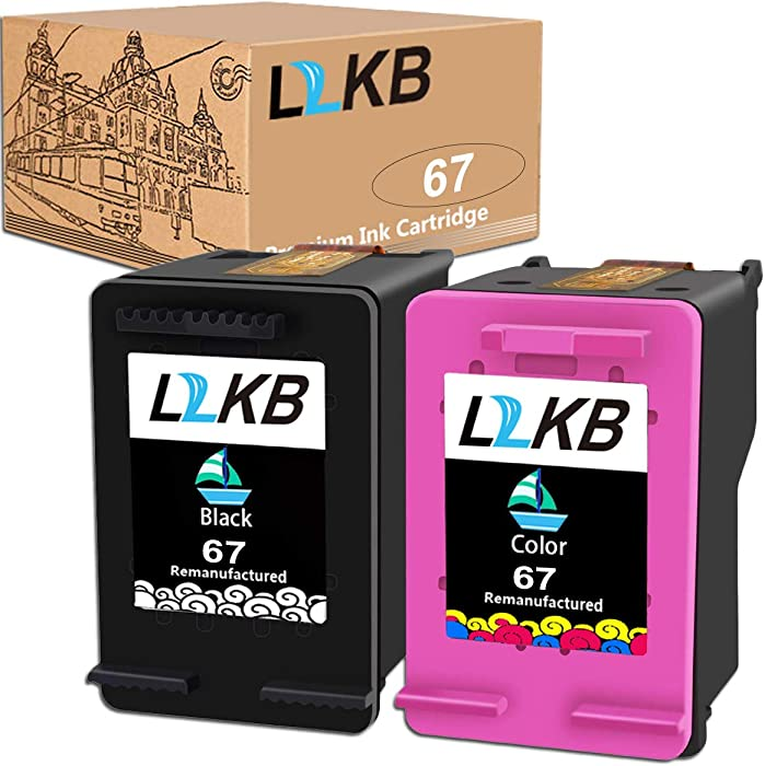 L2KB Remanufactured Ink Cartridge Replacement for HP 67 3YM56AN 3YM55AN Black Tri-Color 2 Pack Ink Cartridge Envy 6052 6055 6058