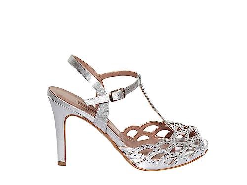 new styles d4684 8c010 ALBANO Scarpe Sandalo Donna 3428 Te Raso Lux Argento PE18