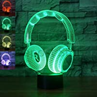 Headset Headphone Night Light, 3D Optical Illusion LED Nightlight Bedside Lamp 7 Colors Changing Touch & Remote Control…