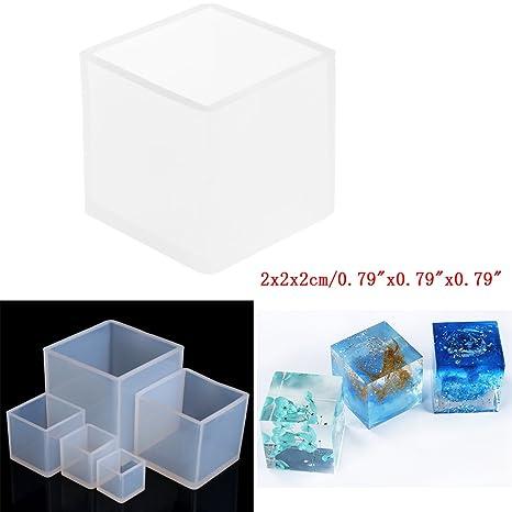Cuigu Cube Silicona moldes DIY creación de Joyas Herramienta Resina Colada Molde Herramienta Craft, Transparente