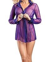 Andy's Share Damen Frauen Reizvoll Nachtshirt Schlafhemd Nachtwäsche Nachtkleid Pyjamas