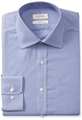 Enro Men's Big and Tall Houndstooth Non-Iron Big & Tall Dress Shirt, Blue, 180 x 36/37 ()