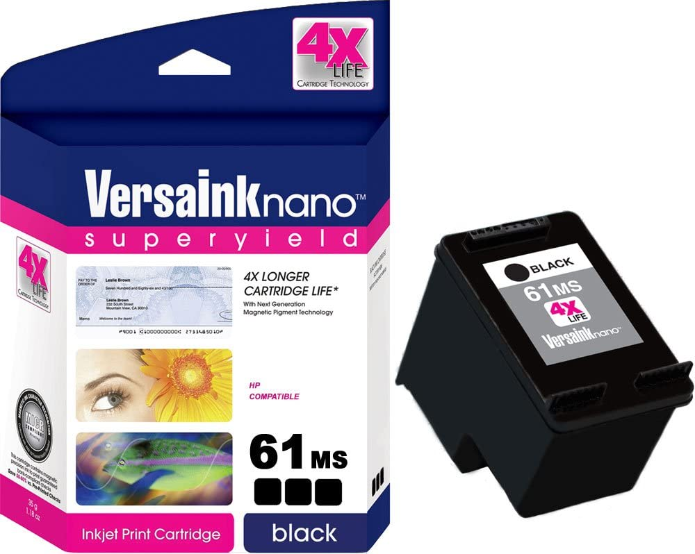 VersaInk-Nano Compatible MICR 61MS Ink Cartridge for Check Printing - Replacement for 61 Black (CH561WN)