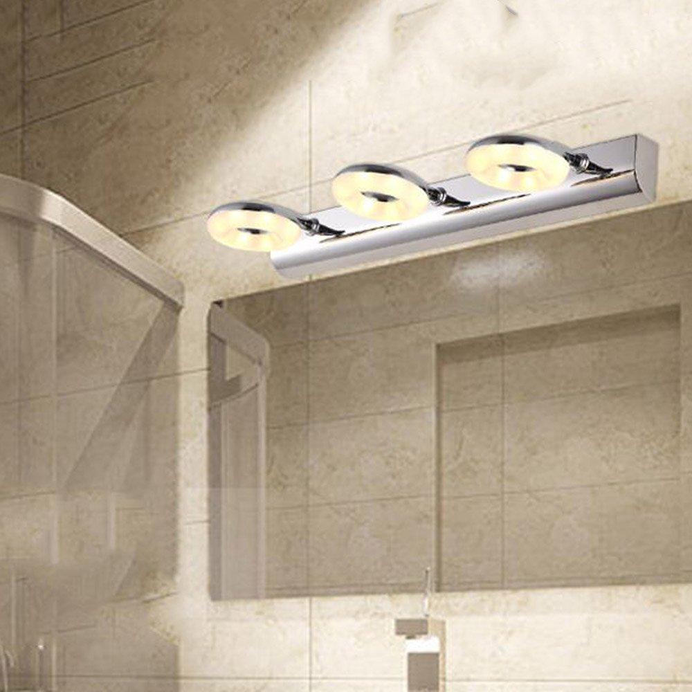 FEI LED Badezimmerspiegel Licht (46CM-9W) LED Drei-Kopf Spiegel Scheinwerfer Einfache Edelstahl Bad Badezimmer Lampe Spiegel Schrank Licht Wandleuchte Make-up Lampe Wandleuchte