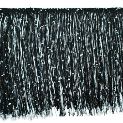 Expo International 20-Yard Starlight Hologram Sequin Chainette Fringe Trim, 12-Inch, Black by Expo International Inc.