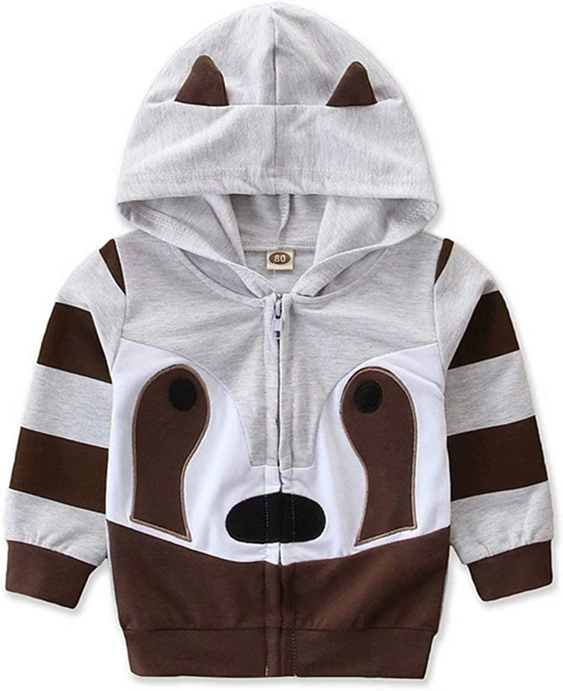 Kimocat Boys Clothes Long Sleeve Knit Zipper Hoodie Sweatshirt Jacket Casual Coat with Dinosaur-Shaped