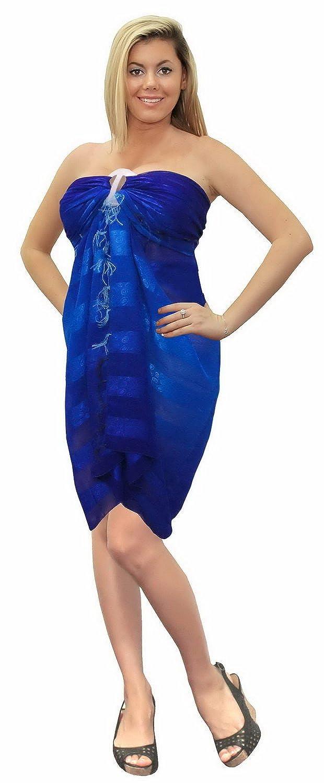 La Leela leichte Chiffon blaue hawaiische Abdeckung nach oben alles einem Strand Abnutzung/Badeanzug oben/sundress/Bikini Schlitz abdecken/Damen wickeln Pareo/Größe Badeanzug Sarong Kleid 182x108 cm