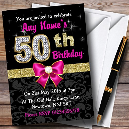 Pink Black Gold Diamond 50Th Birthday Party Personalized Invitations