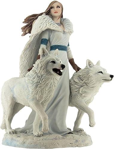 Unicorn Studios WU76701AA Winter Guardians by Anne Stokes Snow Wolves Mistress Statue