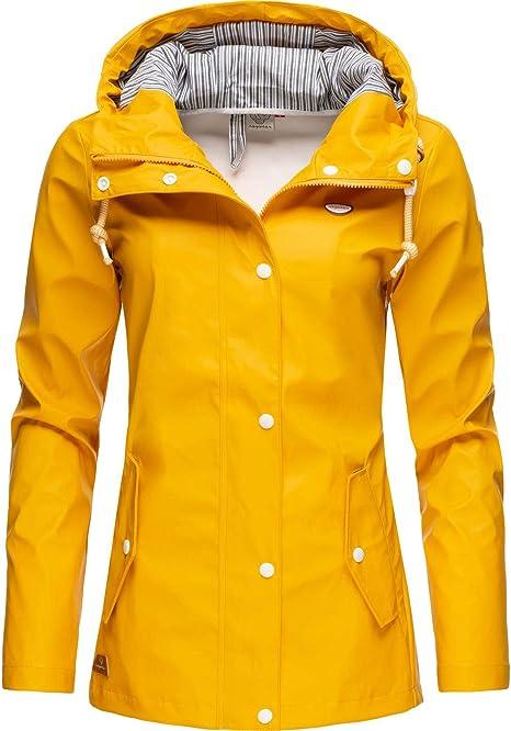 ragwear Damen Übergangs-Jacke leichte Outdoor Kapuzenjacke Danka vanilla gelb