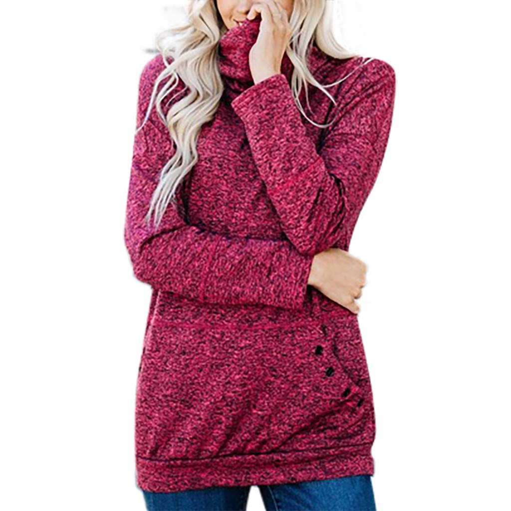 TUU Women Sweater Ladies Solid Turtleneck Long Sleeve Winter Sweater Pullover Tops Hot Pink by TUU-Fashion Shirt