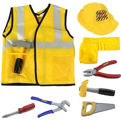 MaMiBaby Juego de ropa de obra de ingeniería, juguete educativo para Halloween, actividades,