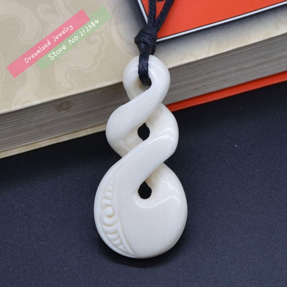 Necklaces Davitu 1pc Hot Sale New Zealand Maori Handmade Carved Ox Bone Necklace Infinity Twisted Pendant Womens Mens Hawaii Surfer Style Choker Men