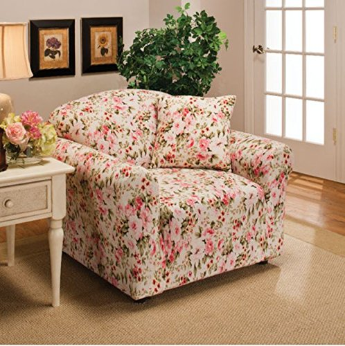 Floral Slipcover - Madison Stretch Jersey Chair Slipcover, Floral, Pink