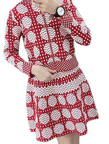 YUNY Womens Classic 2 Picec Set Print Long Sleeve Zipper Jacket Crop Top+Swing Mini Slirt Red (Crop Swing Jacket)