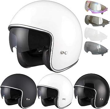Matt Black XL Extra Inner Mirrored Visor Leopard LEO-601 Motorbike Motorcycle Open Face Helmet 61-62cm