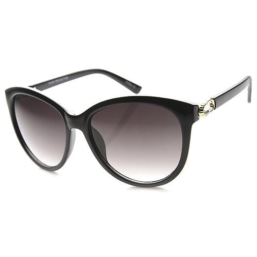 f60958591b82ab Women's Metal Accent Gradient Lens Oversize Cat Eye Sunglasses 56mm (Black- Gold/Lavender