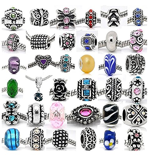 SEXY SPARKLES (20 Beads Mix) Pack of Assorted Silver Tone Charms, Rhinestones Bead Charms, Murano Glass Beads and ()