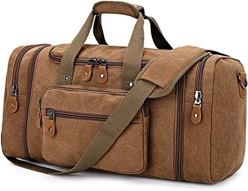 Plambag Canvas Duffle Bag for Travel, 50L Duffel Overnight Weekend Bag Coffee