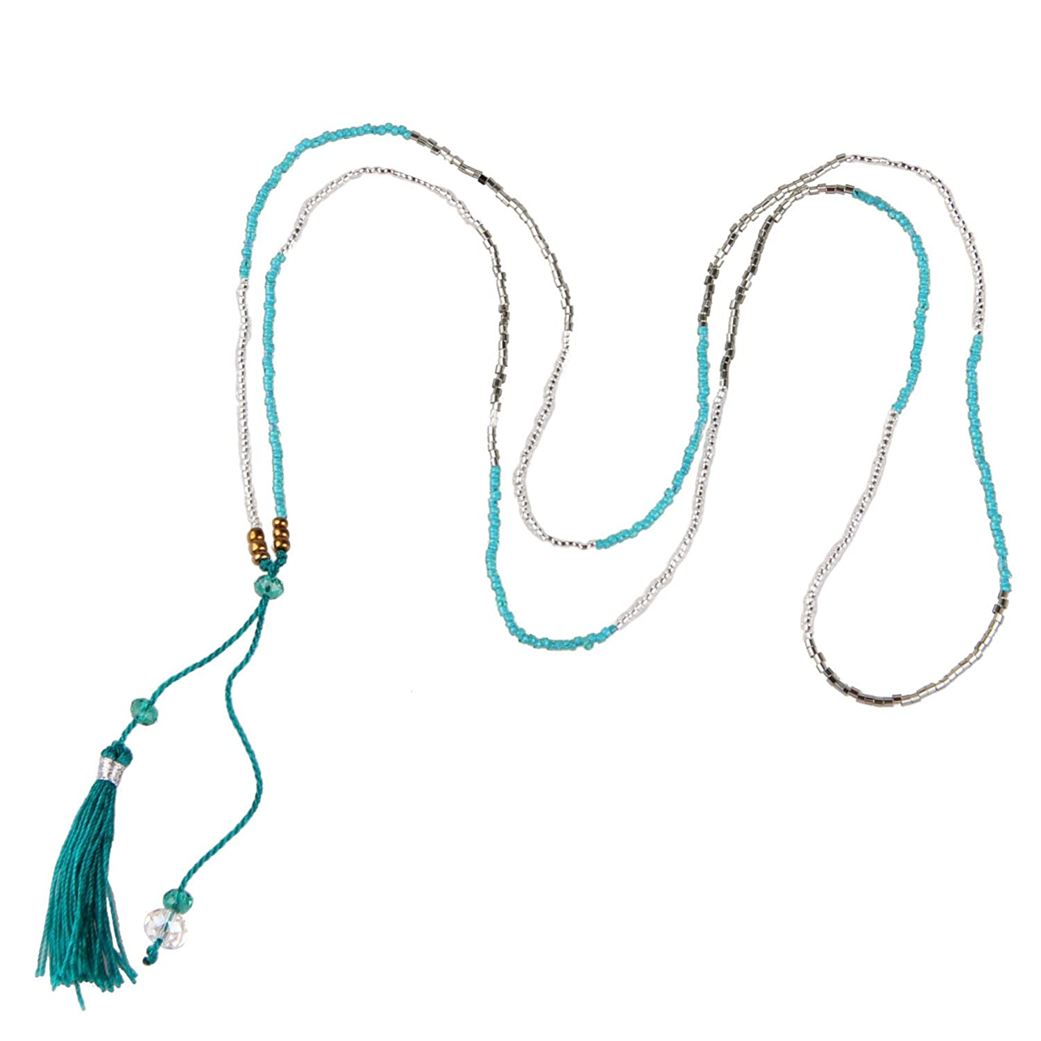 KELITCH Long Lariat Necklace Colorful Seed Bead Tassel Chain Necklace Women Girls Kelitch Jewelry UAMN0185