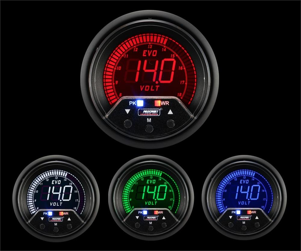 Volt Gauge- Electrical Digital Green/white/red/blue Premium EVO Series 60mm (2 3/8