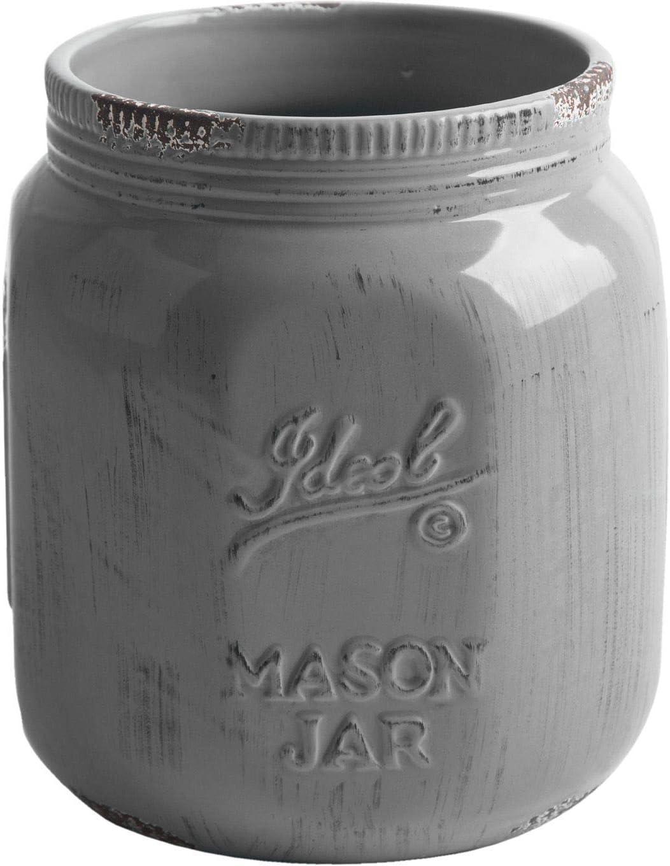 Home Essentials Vintage Mason Jar Collect Antique Warm Grey Utensil Crock 6.5 Inches