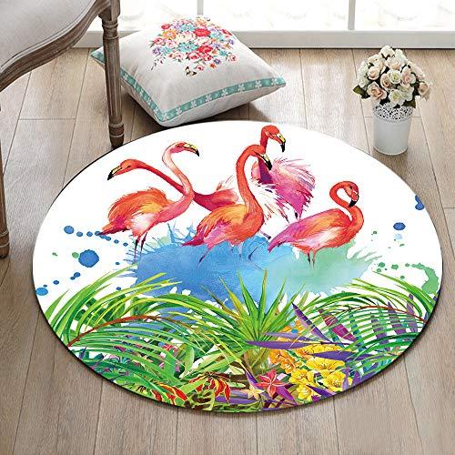 ETOB Tropical Green Leaves Flamingo Area Rugs Natural Print Memory Foam Non-Slip Round Rug Washable Living Room Bedroom Carpet for Kids Playroom Play Mat Nursery Rugs, Dia. 2'(60cm)