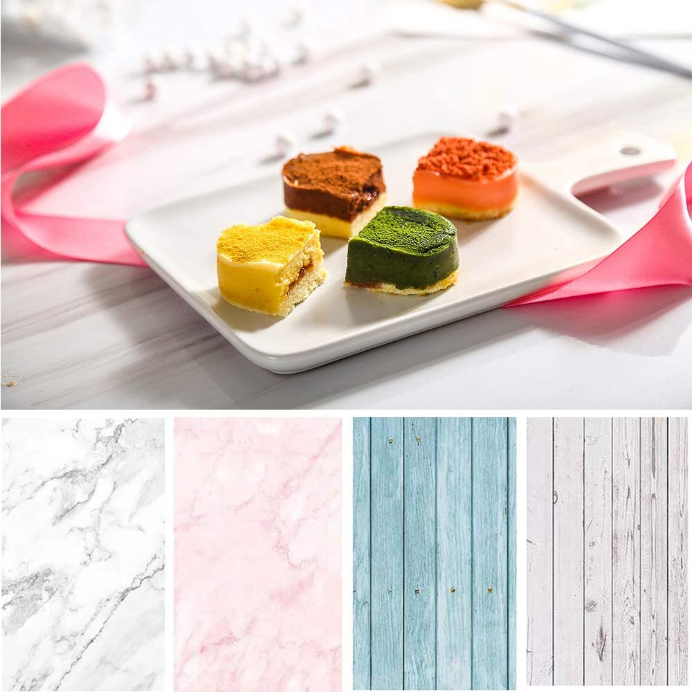 Bcolor Food Photography Backdrop Paper 4 Pack Kit 22x34Inch/ 56x86cm Double Sided Photo Background Rolls Marble Wood Flat Lay for Product Jewelry Tabletop Prop Pictures, 8 Patterns