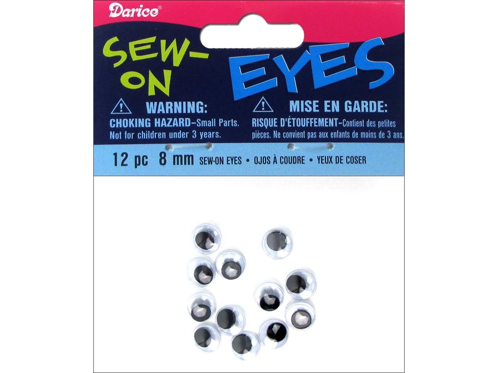 Darice 12-Piece Moveable Sew on Eye, 8mm, Black MES8-PP