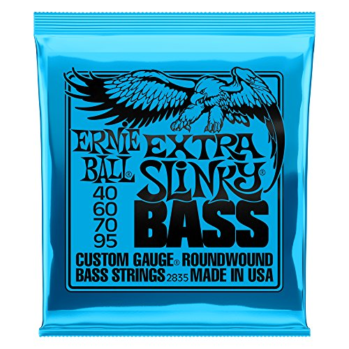 Light Strings Bass Gauge - Ernie Ball Extra Slinky Electric Nickel Wound Bass Set, .040 -.095