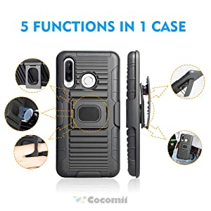 Cocomii Cyborg Armor Huawei P30 lite Belt Clip Holster Case, Slim Thin Matte Kickstand Swivel Belt Clip Holster Ring Grip Magnetic Car Mount Fashion Phone Case Bumper Cover for Huawei P30 lite (Black) (Color: Cy.Black)