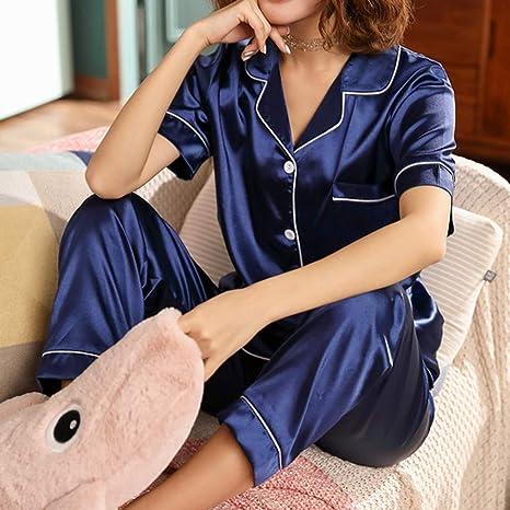Pijama de Seda de Manga Corta Conjunto de Pijamas de ...
