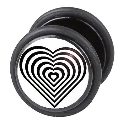 Dilatador Falso Piercing Plug, Pendiente, Corazón Negro: Amazon.es: Joyería