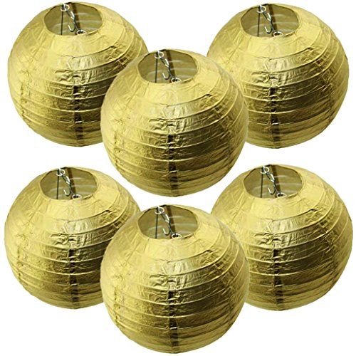 12Inch-Chinese-Gold-Paper-Lanterns-Set-of-6-For-BirthdayWedding-ChristmasParty-Ceiling-Hanging-Decoration