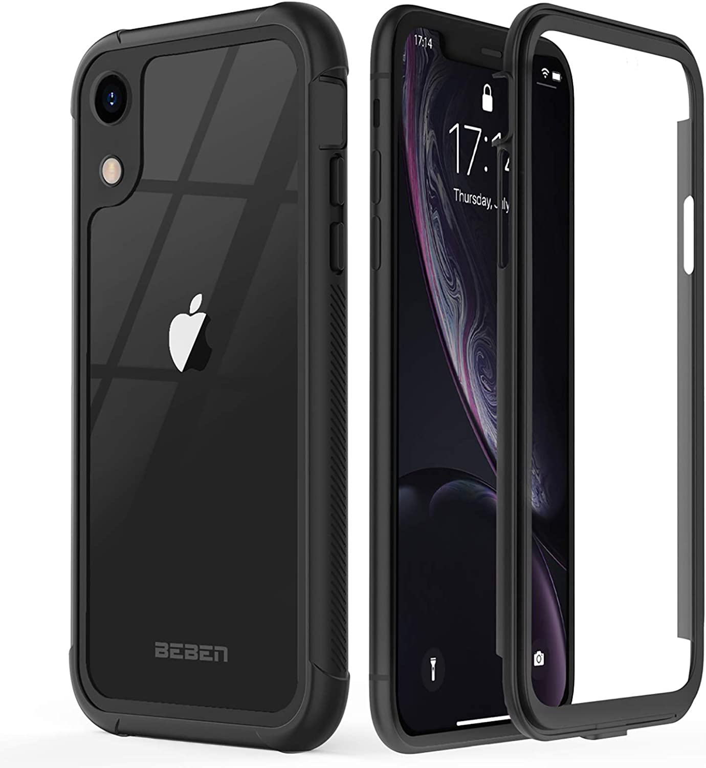 BEBEN Designed for iPhone XR Case, Full-Body Dual Layer Rugged Clear Bumper Case with Built-in Screen Protector, Heavy Drop Protection Shock Absorption Dustproof Cover for iPhone XR 2018 (Black)