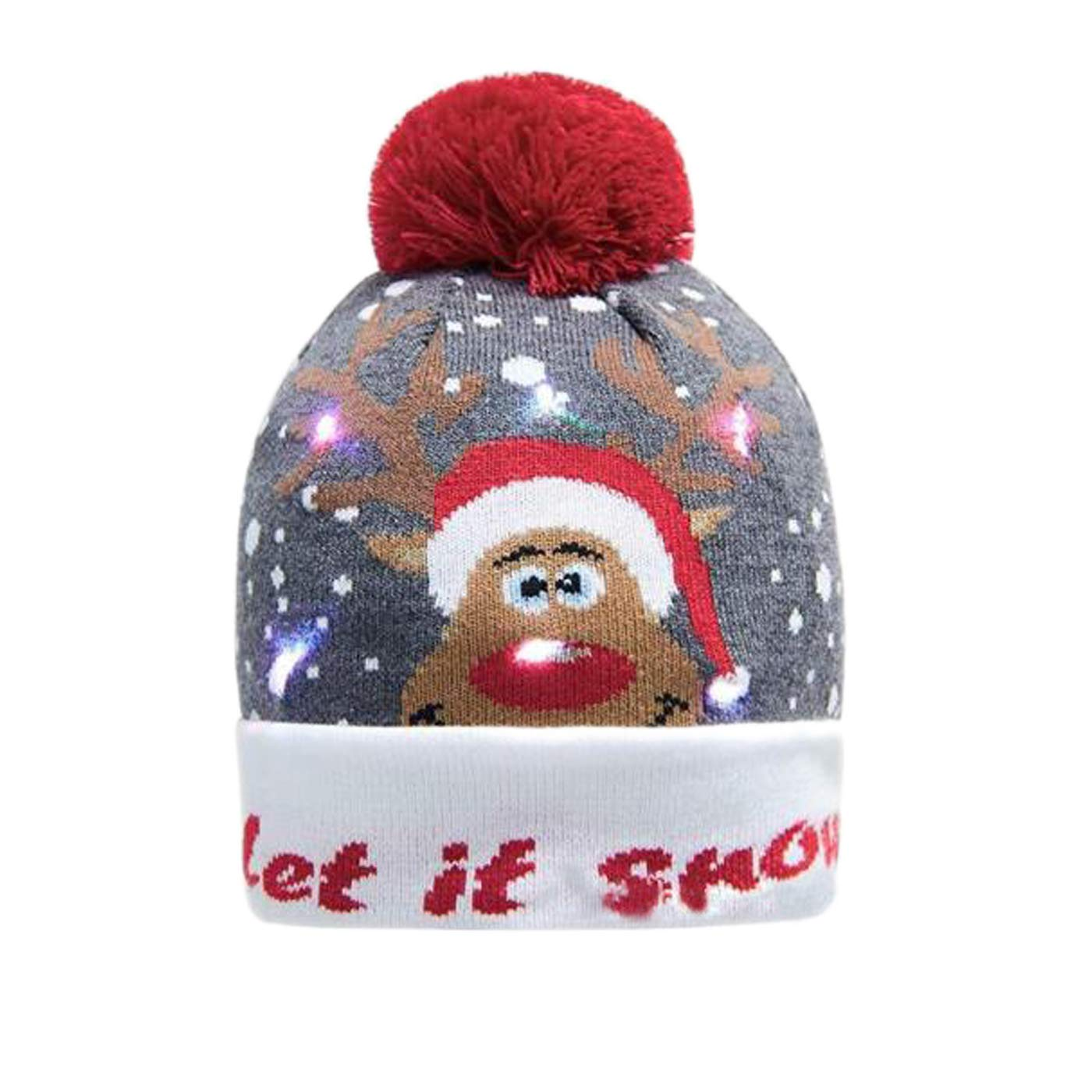 Stylish LED Light Up Knitted Ugly Pom Hat Holiday Xmas Christmas Beanie Hats Cap for Adults Kids Girls Boys Funny Hat Gifts