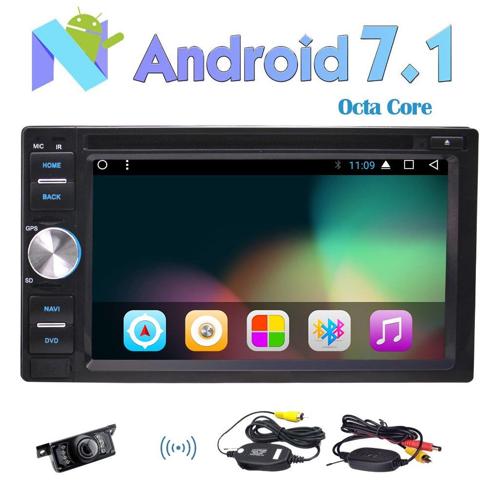 バックアップカメラオクタコアのAndroid 7.1のカーラジオのステレオ6.2インチダブルDINはナビゲーションカーDVDプレーヤーブルートゥースヘッドユニットAutoradio HD 1024×600の解像度スクリーン2GのRAM 32G ROM無線LAN USB / SD SWCのGPS B0778HJG8T