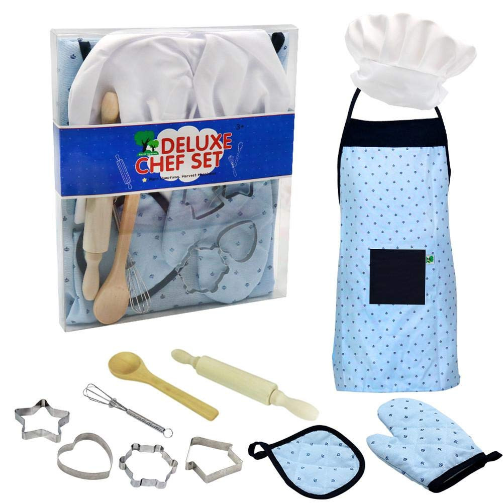 Chef Hat Kitchen Apron Woolves Childrens Baking Toy Set The Best Gift Sustainable benchmark Gifts for 3 Year Old Girls and Boys Gloves and Toddler Boy and Girl Kitchen Baking Set