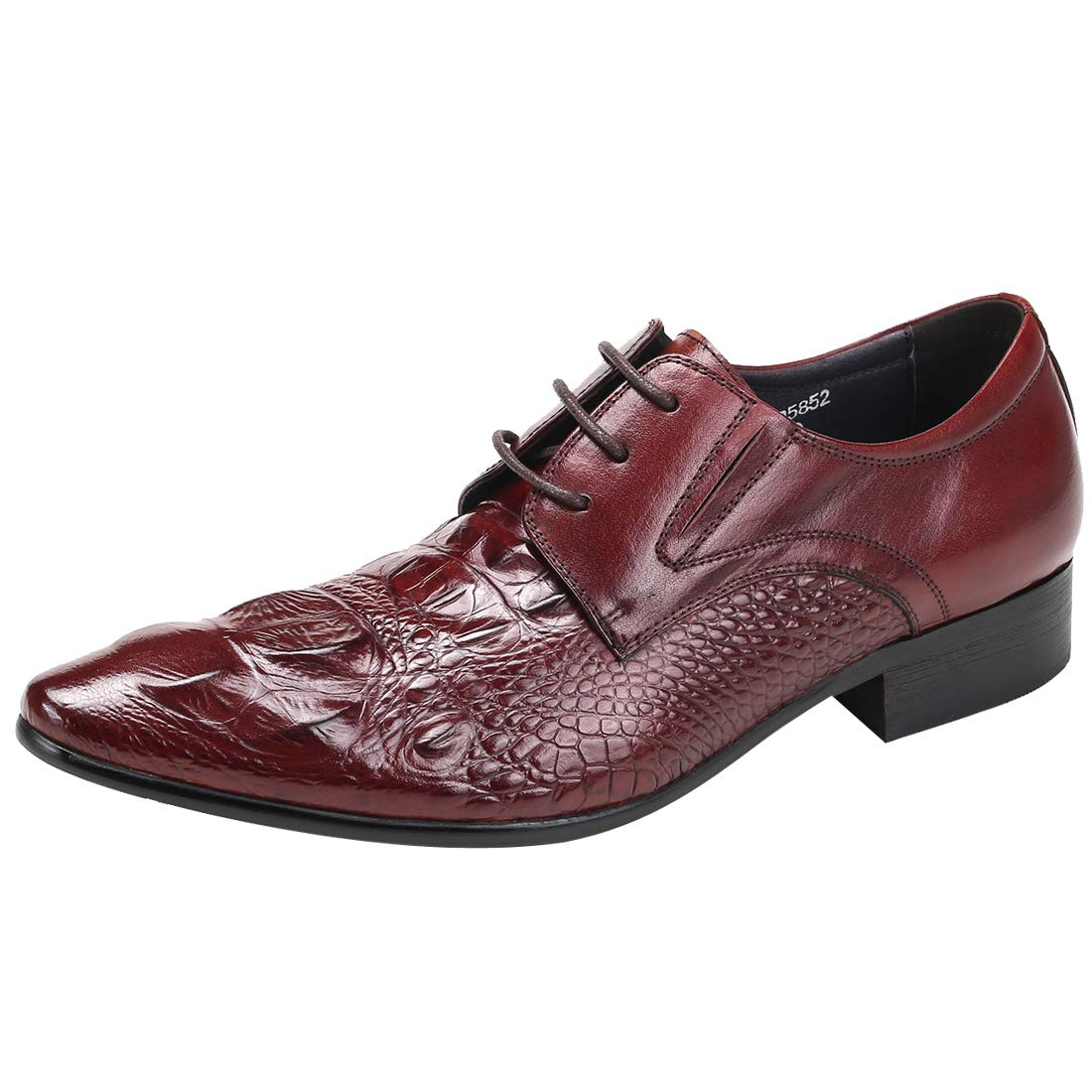 Mönster för röda mänyer mänyer mänyer Krokodiler Derby Business läder Pointed Footwear Formal Genuine Dress Toe skor  designer online