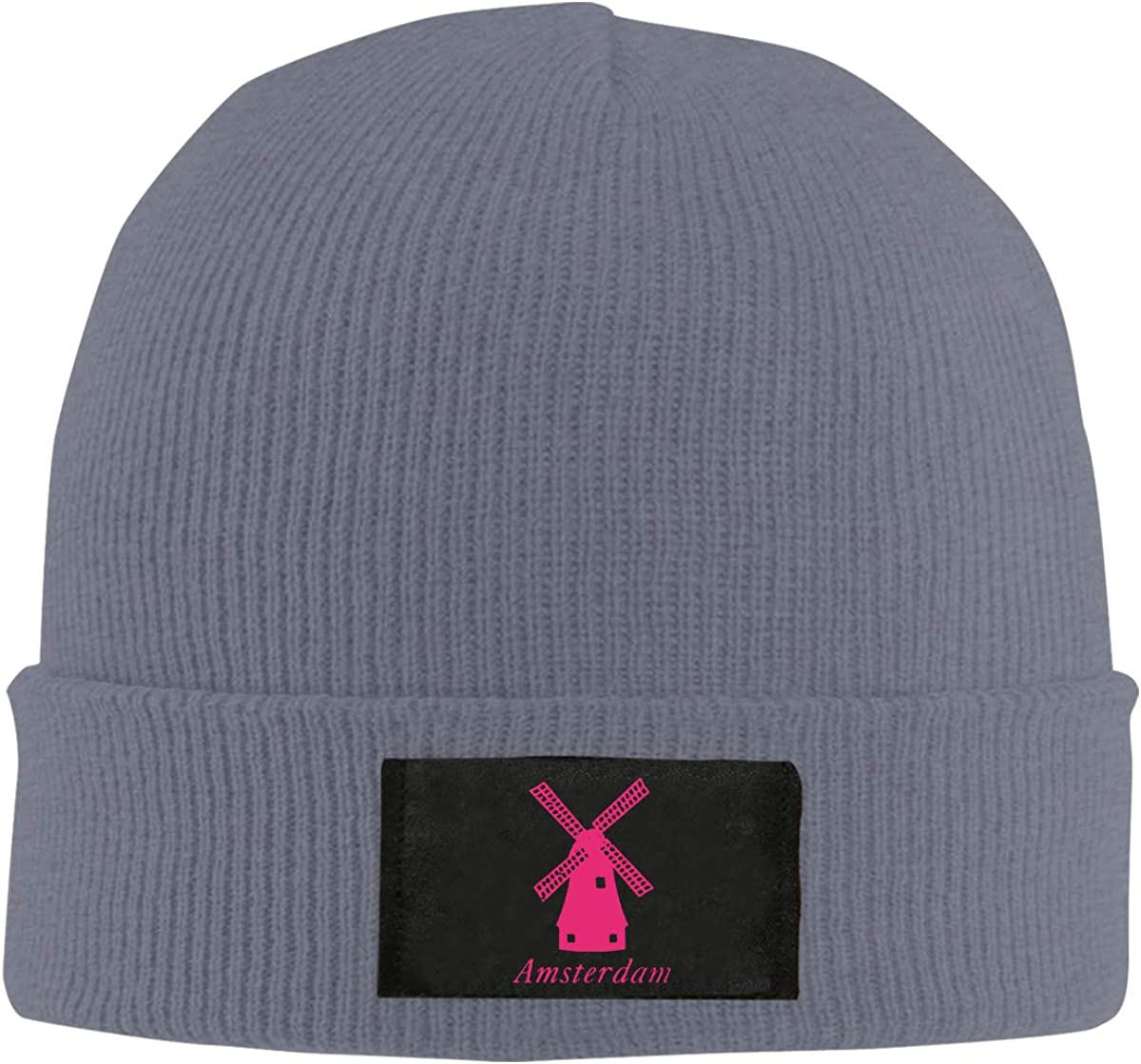 Men Women Pink Amsterdam Windmill Skull Hat Beanie Cap Winter Knit Hat Cap
