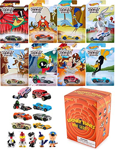 Cartoon Looney Hot Wheels Tunes Exclusive Die-Cast cars Bugs Bunny / Daffy Duck / Michigan J. Frog / Marvin Martian / Wile E. Coyote / Road Runner / Tazmanian Devil / Yosemite Sam + Kid Robot Mini Fig