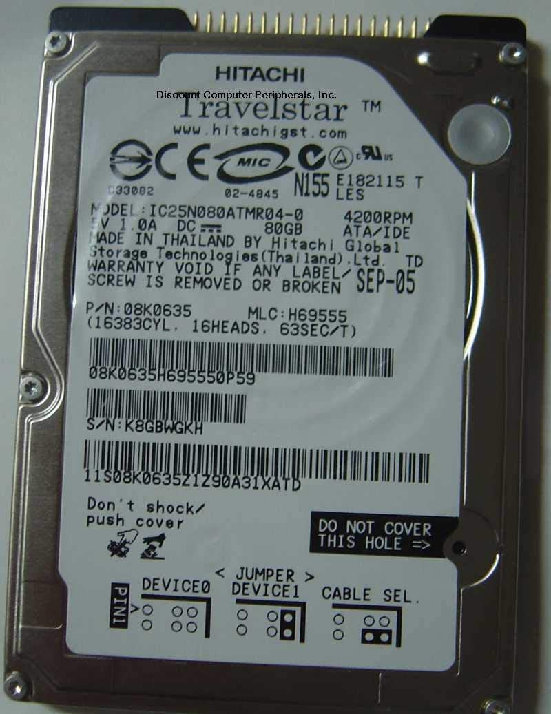 "Hitachi Travelstar 80GB 4200RPM 2.5/"" IDE Laptop Hard Drive IC25N080ATMR04-0 HDD"