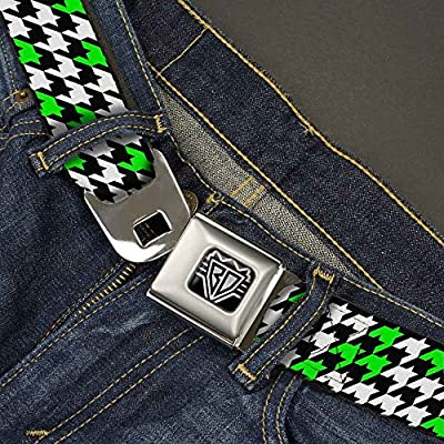 Houndstooth Black//White//Neon Green 1.5 Wide Buckle-Down Seatbelt Belt 24-38 Inches in Length